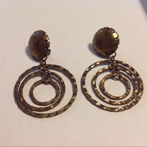 Baer SF Antique Gold Tone Clip On Earrings